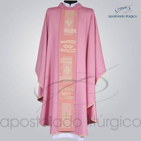 Casula Crepe Seda Galao [Cruz Caminho] Rosa Frente – COD 1232