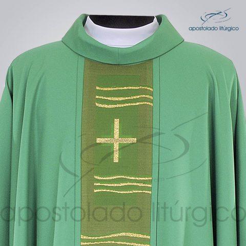 Casula Crepe Seda Galao [Cruz Caminho] Verde Frente Gola – COD 1232