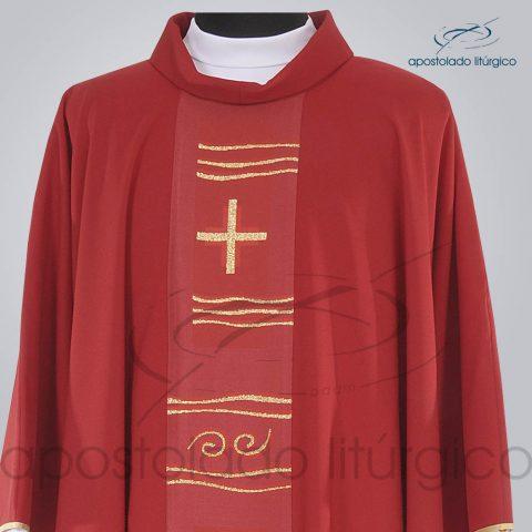 Casula Crepe Seda Galao [Cruz Caminho] Vermelha Frente Gola – COD 1232