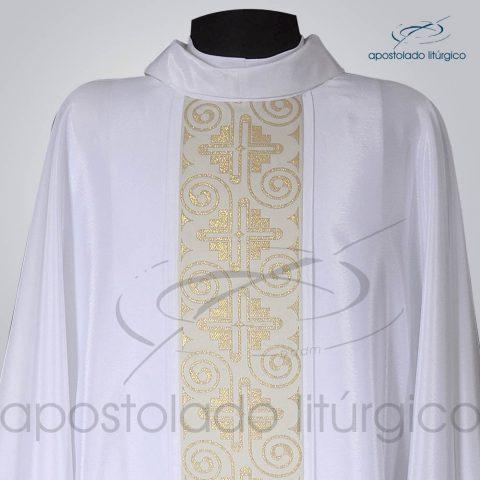 Casula Crepe Seda Galao [Grega Indigena] Branca Frente Gola