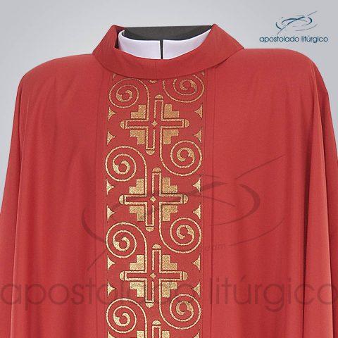 Casula Crepe Seda Galao [Grega Indigena] Vermelha Frente Gola