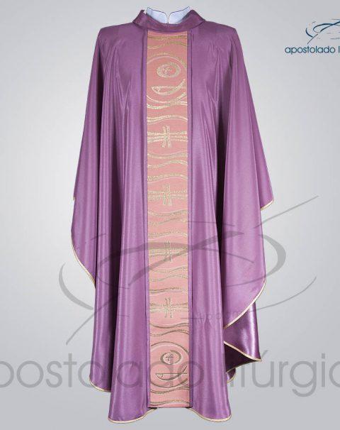Casula Crepe Seda Galao [Peixe Cruz rosa] roxa Frente