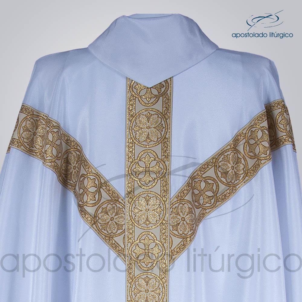 Casula Crepe Seda Galao ombro n 10 Branca Costas Gola | Apostolado Litúrgico Brasil