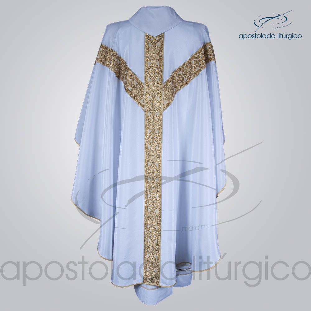 Casula Crepe Seda Galao ombro n 10 Branca Costas | Apostolado Litúrgico Brasil