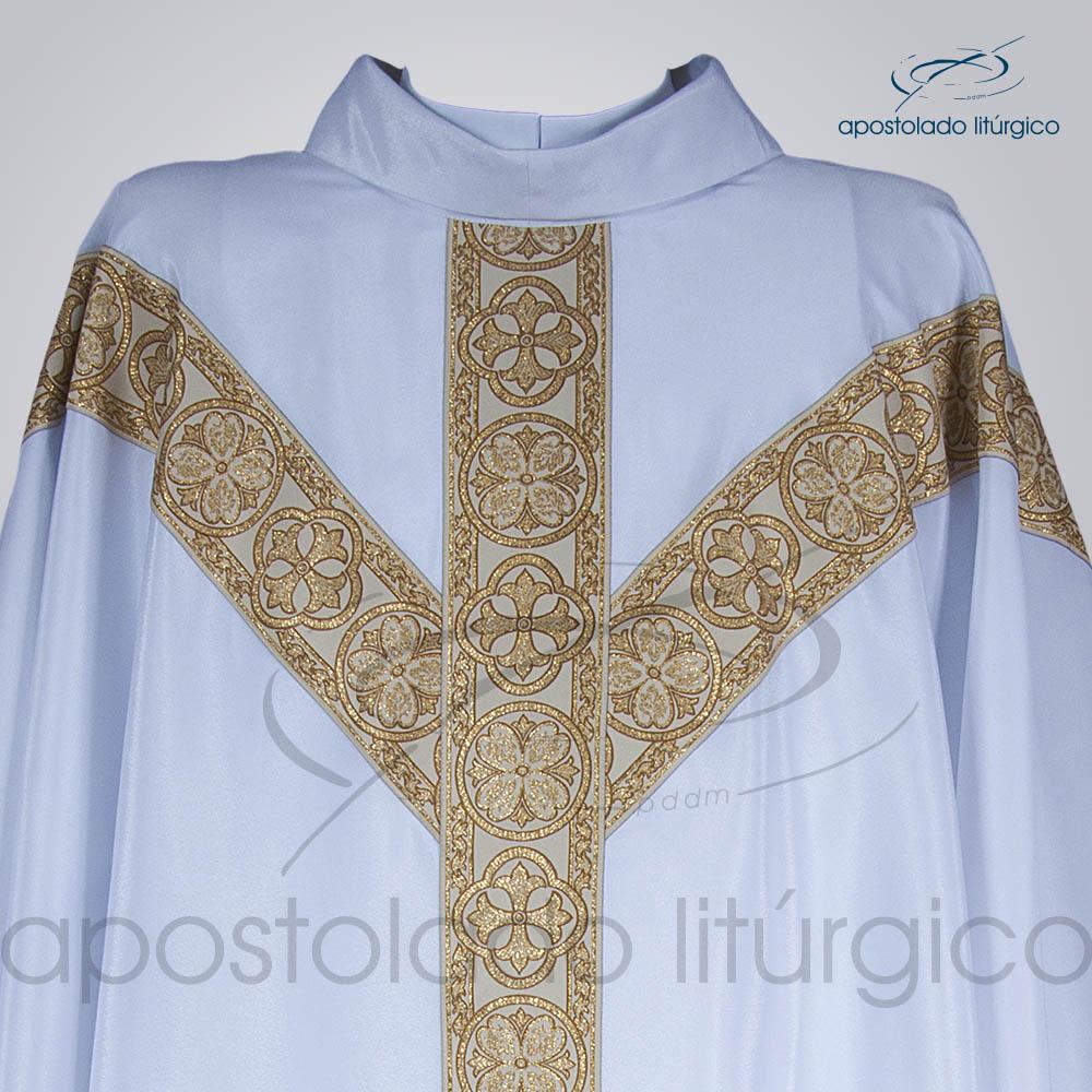 Casula Crepe Seda Galao ombro n 10 Branca Frente Gola | Apostolado Litúrgico Brasil
