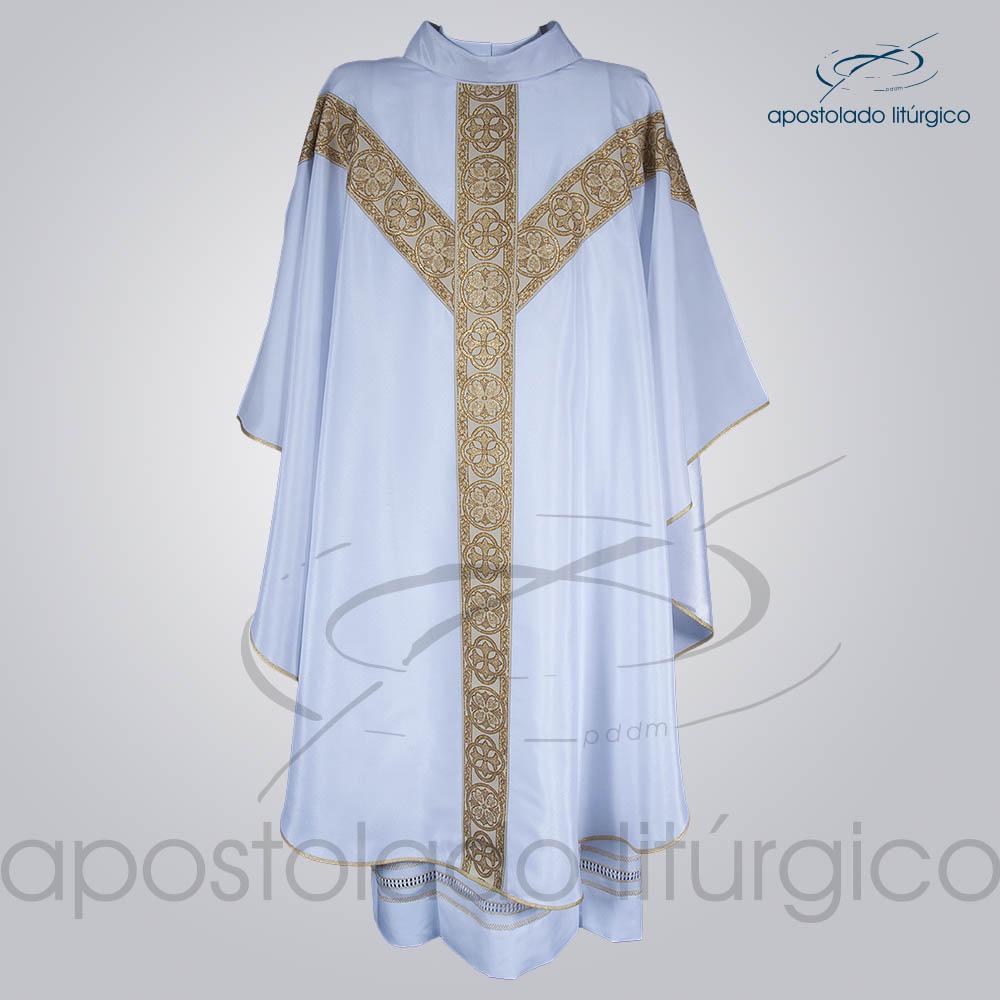 Casula Crepe Seda Galao ombro n 10 Branca Frente | Apostolado Litúrgico Brasil