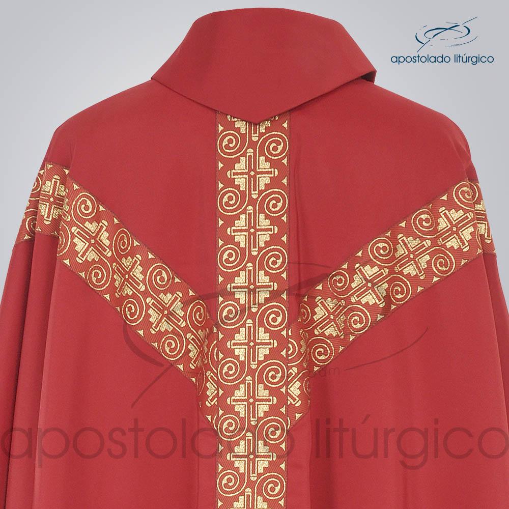 Casula Crepe Seda Galao ombro n 9 Vermelha Costas Gola   Apostolado Litúrgico Brasil