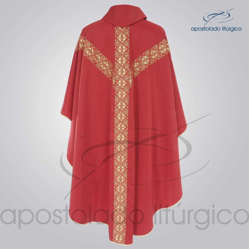 Casula Crepe Seda Galao ombro n 9 Vermelha Costas   Apostolado Litúrgico Brasil