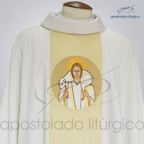 Casula Crepe Seda galao [Bom Pastor] Creme frente gola