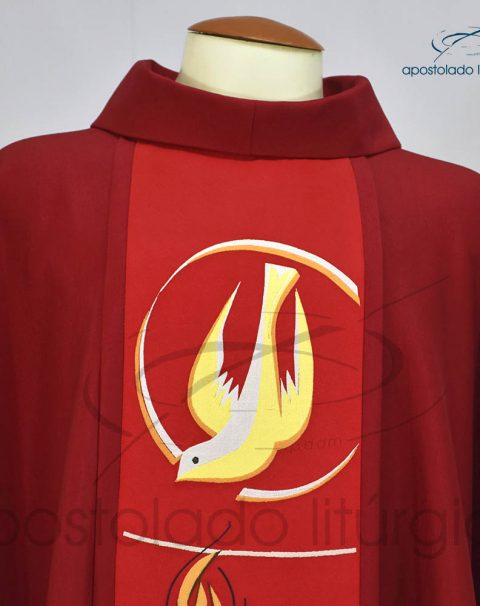 Casula Crepe Seda galao [espirito santo] vermelha frente gola