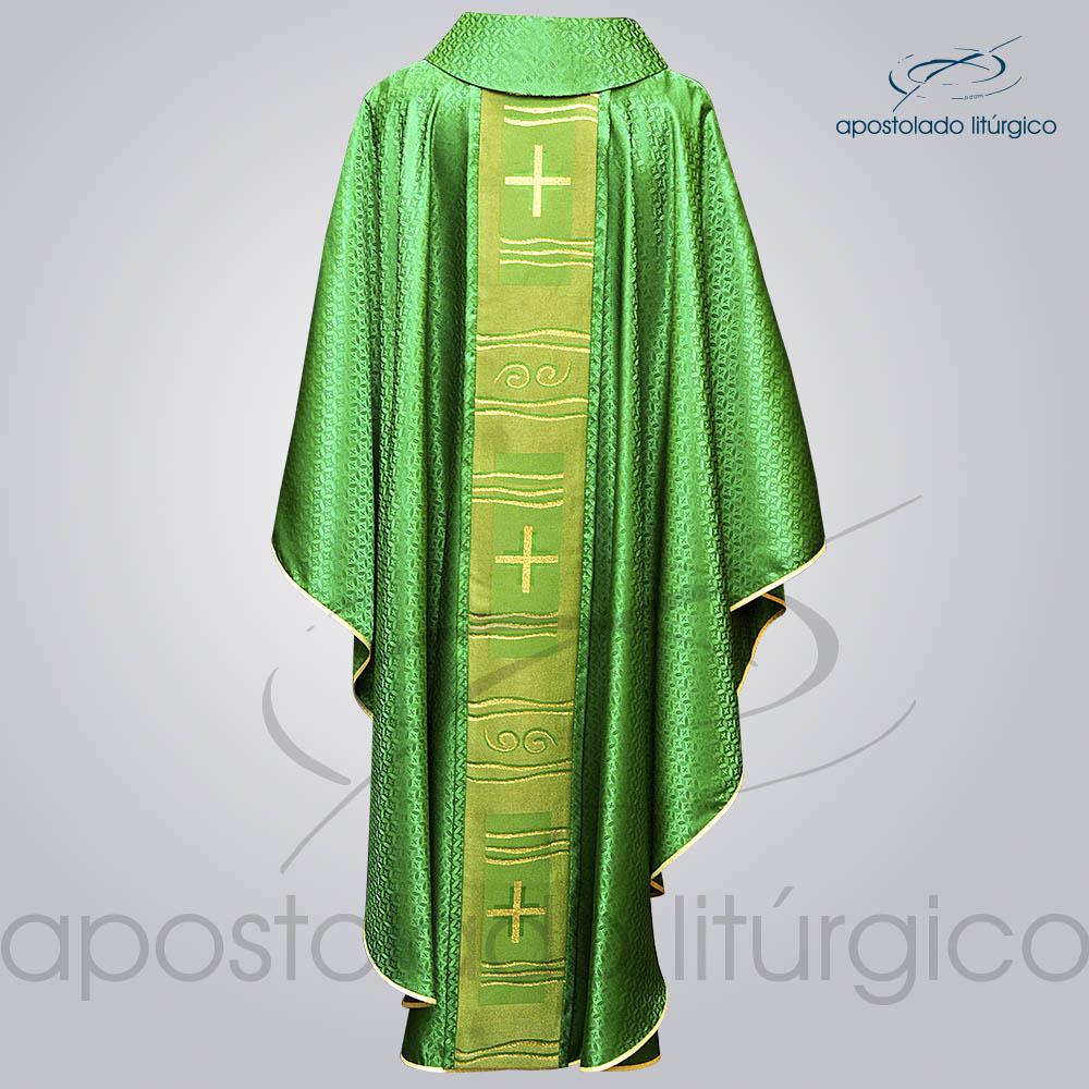 Casula Damasco Galao Cruz Caminho Verde costas | Apostolado Litúrgico Brasil