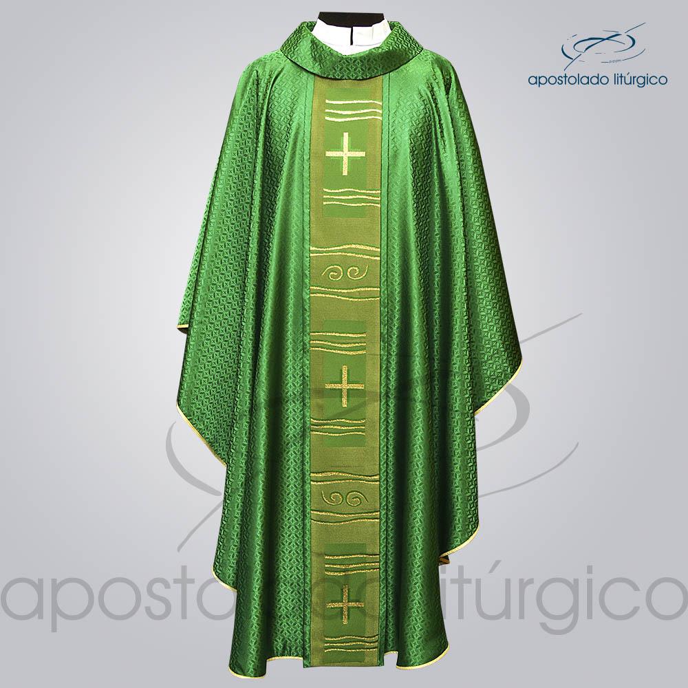 Casula Damasco Galao Cruz Caminho Verde frente | Apostolado Litúrgico Brasil