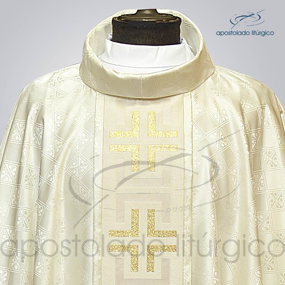 Casula Gaudium Galao tupa Perola Frente gola | Apostolado Litúrgico Brasil