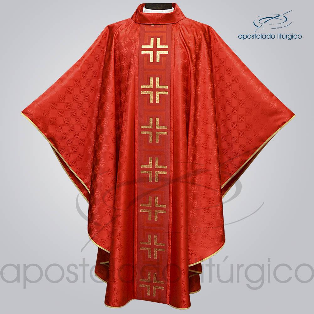 Casula Gaudium Galao tupa vermelho Frente aberta | Apostolado Litúrgico Brasil