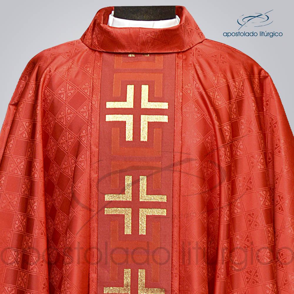 Casula Gaudium Galao tupa vermelho Frente gola | Apostolado Litúrgico Brasil