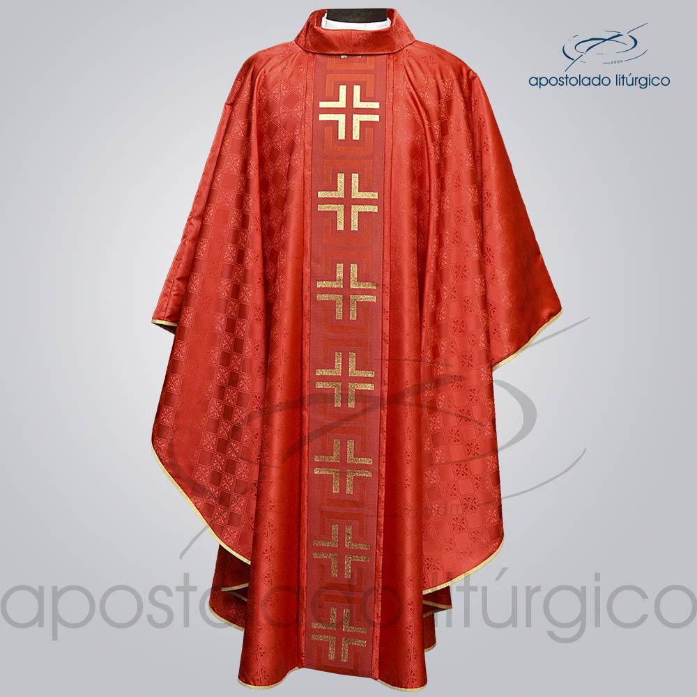 Casula Gaudium Galao tupa vermelho Frente | Apostolado Litúrgico Brasil