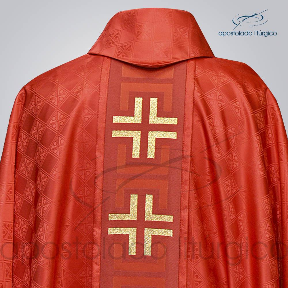 Casula Gaudium Galao tupa vermelho costas gola | Apostolado Litúrgico Brasil