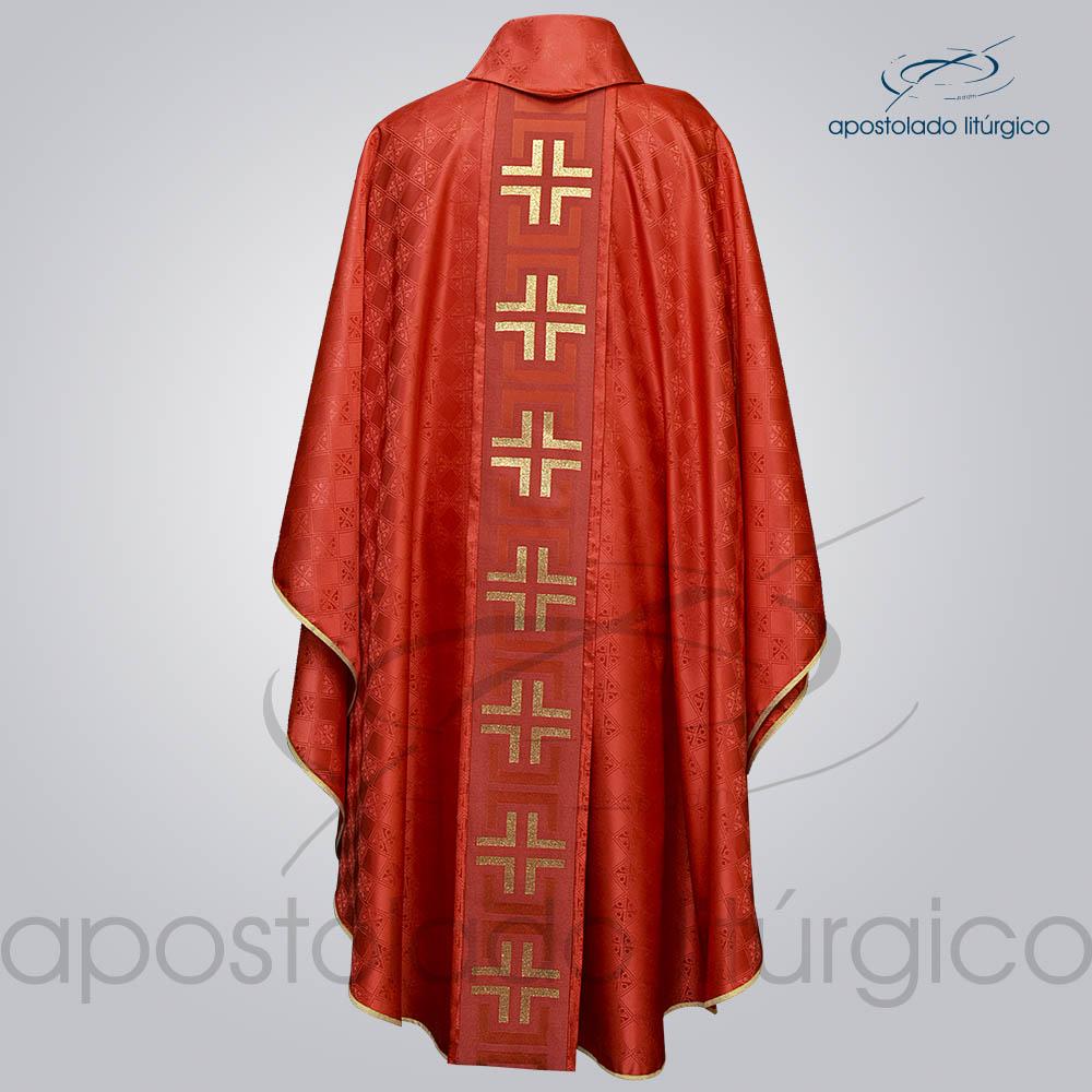 Casula Gaudium Galao tupa vermelho costas | Apostolado Litúrgico Brasil