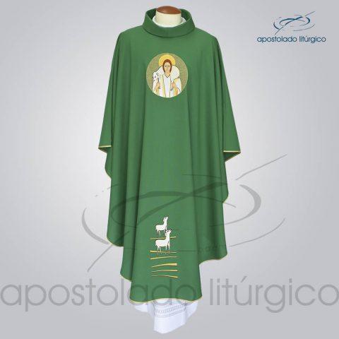 Casula Oxford Bordado Bom Pastor Verde