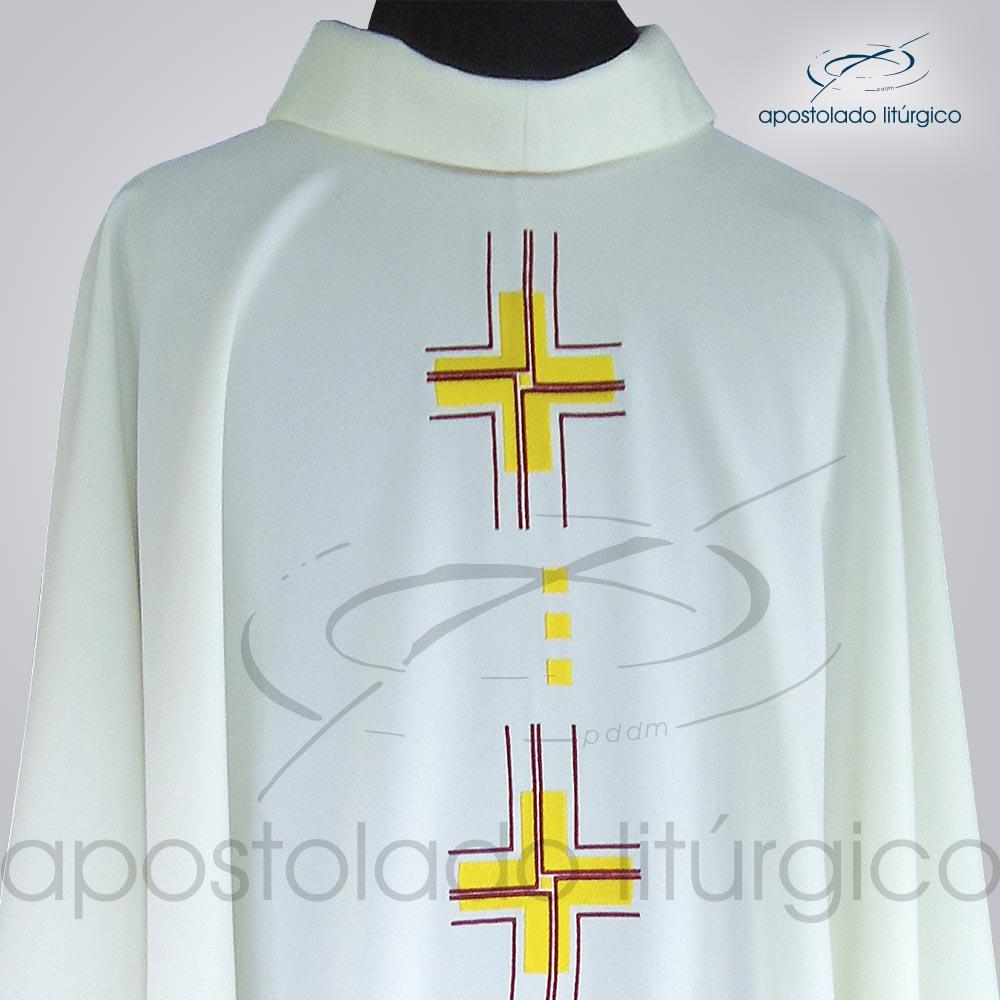 Casula Oxford Bordado Cruz Gloriae Bege Frente Gola COD 38982   Apostolado Litúrgico Brasil