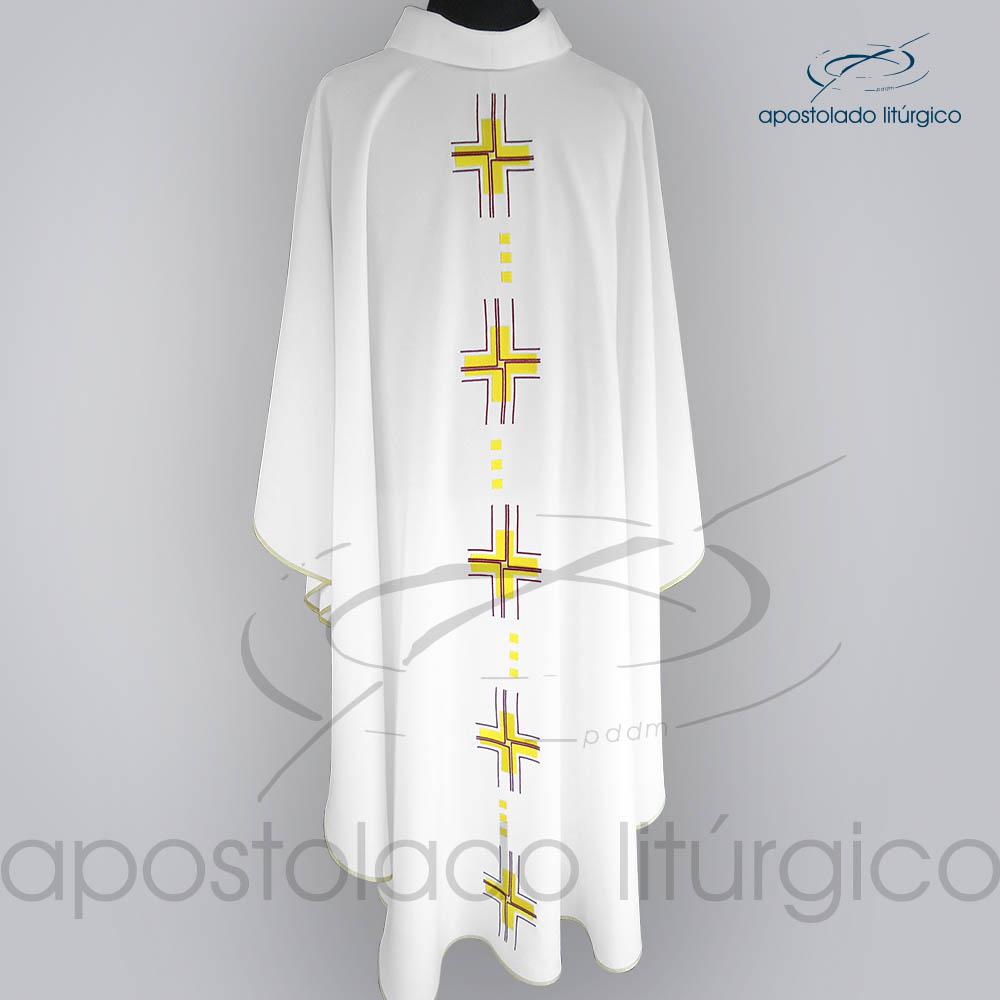 Casula Oxford Bordado Cruz Gloriae Branca Frente COD 03121 | Apostolado Litúrgico Brasil