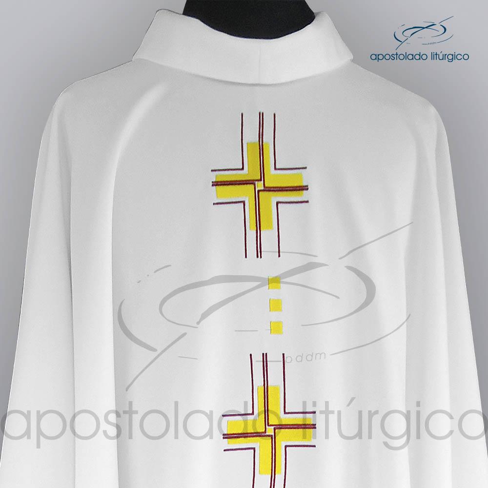 Casula Oxford Bordado Cruz Gloriae Branca Frente Superior COD 03121 | Apostolado Litúrgico Brasil