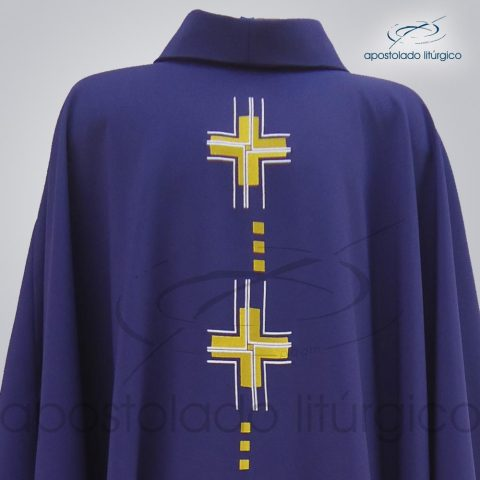 Casula Oxford Bordado Cruz Gloriae Roxa Frente Gola – COD 39927
