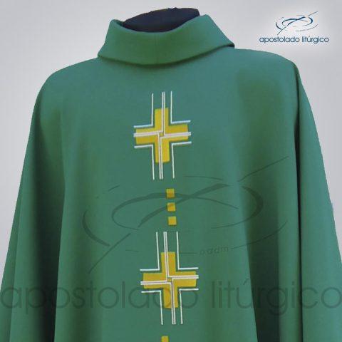 Casula Oxford Bordado Cruz Gloriae Verde Frente Gola – COD 39934