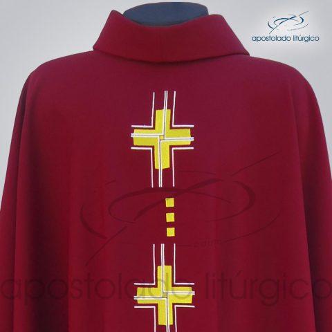 Casula Oxford Bordado Cruz Gloriae Vermelha Frente Gola – COD 38982