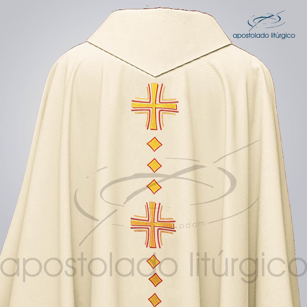 Casula Oxford Bordado Cruz Vida Bege Costas Superior COD 03086 | Apostolado Litúrgico Brasil