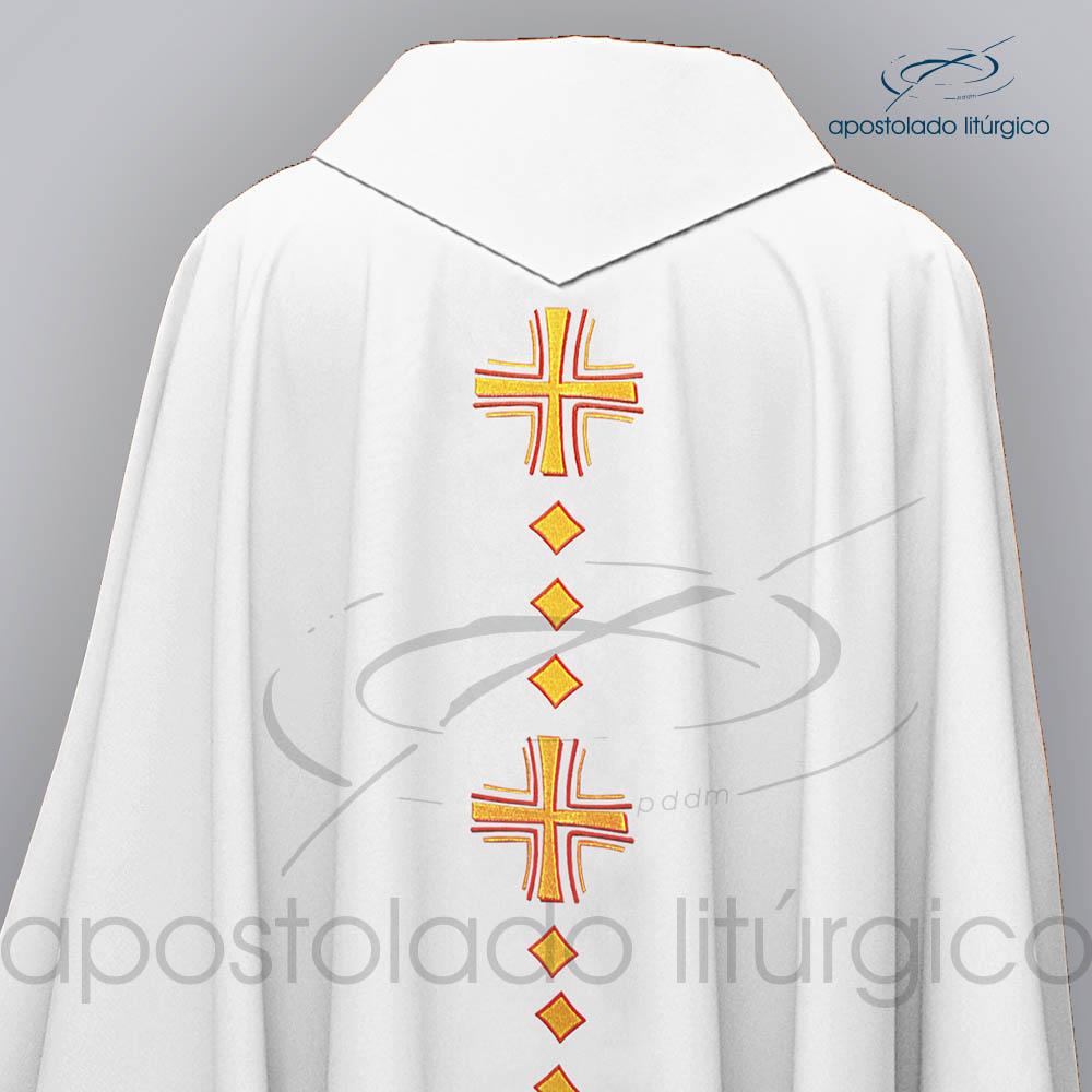 Casula Oxford Bordado Cruz Vida Branca Costas Superior COD 03121 | Apostolado Litúrgico Brasil