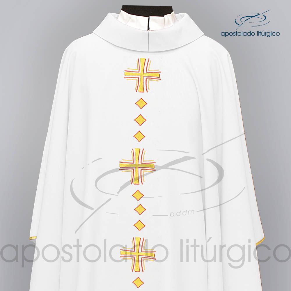Casula Oxford Bordado Cruz Vida Branca Frente Superior COD03121 | Apostolado Litúrgico Brasil