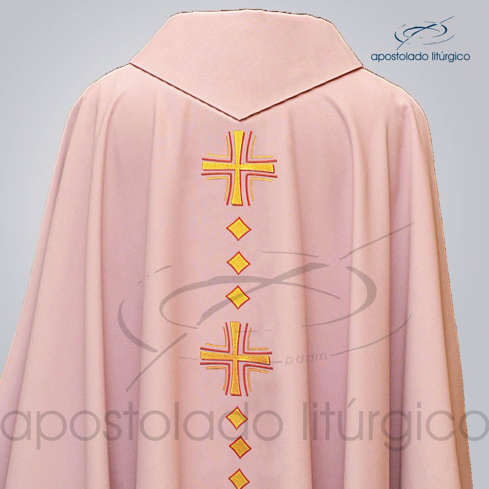 Casula Oxford Bordado Cruz Vida Rosa Costas Superior COD 03120 | Apostolado Litúrgico Brasil
