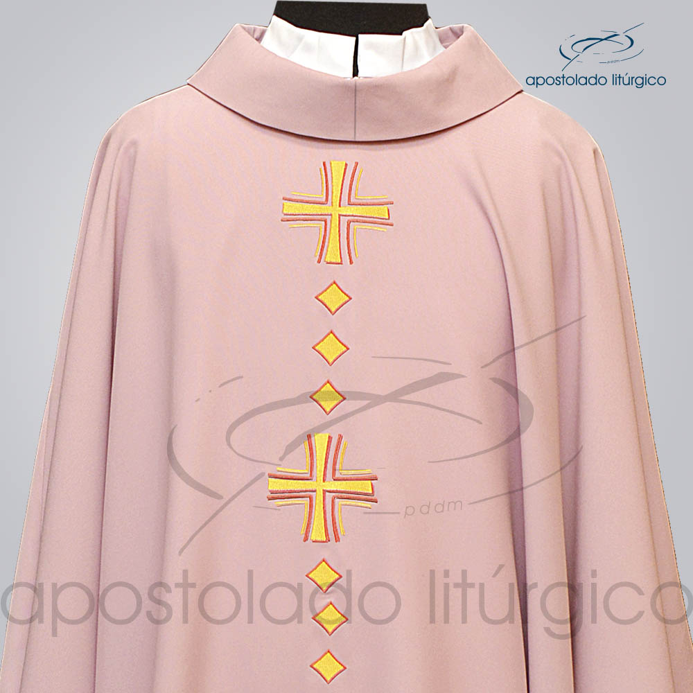 Casula Oxford Bordado Cruz Vida Rosa Frente Superior COD 03120 | Apostolado Litúrgico Brasil