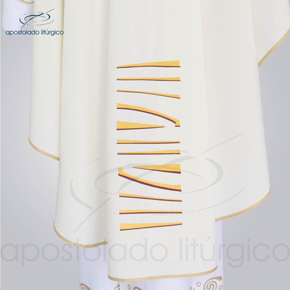 Casula Oxford bordado Bom Pastor Creme costas barra | Apostolado Litúrgico Brasil