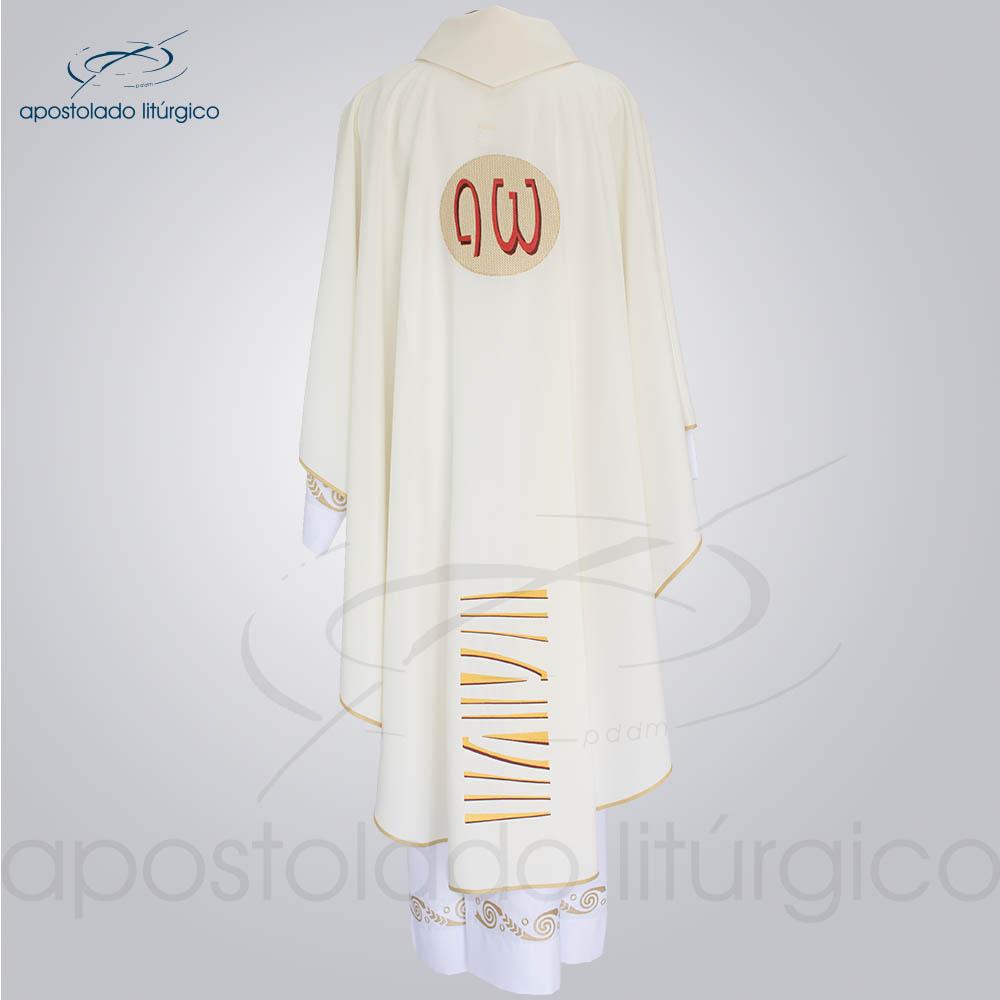 Casula Oxford bordado Bom Pastor Creme costas | Apostolado Litúrgico Brasil