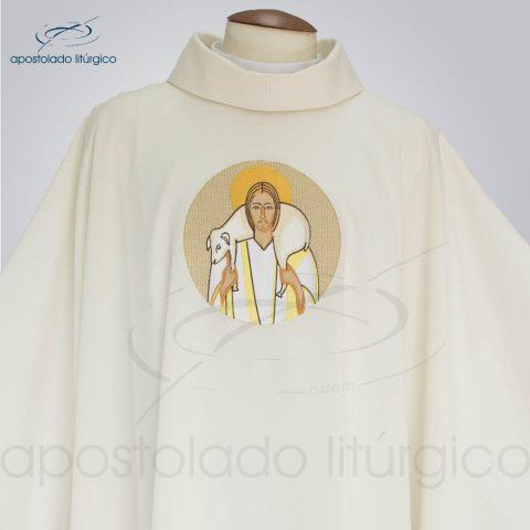 Casula Oxford bordado Bom Pastor Creme frente gola