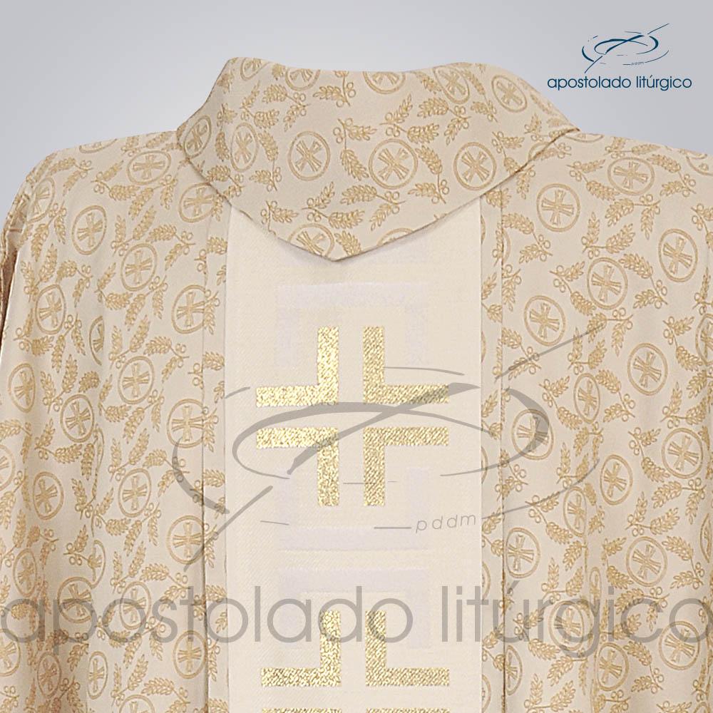 Casula Pasqua Trilobal Galao Tupa Dourada Costas Gola | Apostolado Litúrgico Brasil