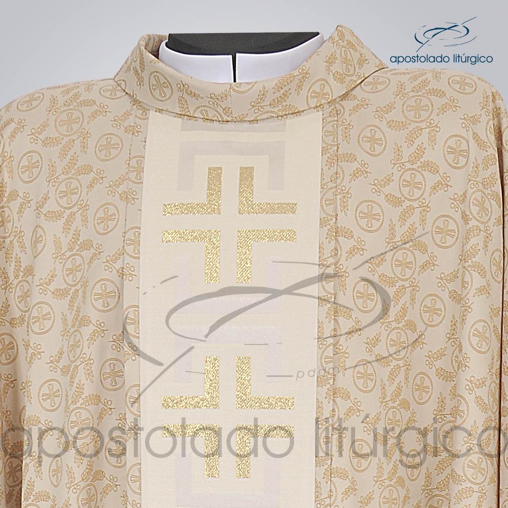 Casula Pasqua Trilobal Galao Tupa Dourada Frente Gola | Apostolado Litúrgico Brasil