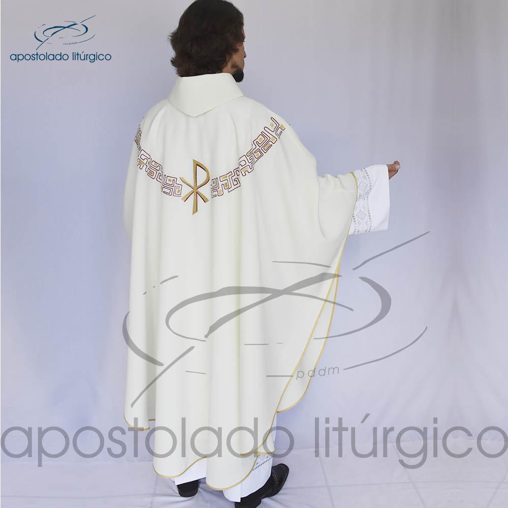 Casula oxford bordado PX Bege Costas | Apostolado Litúrgico Brasil
