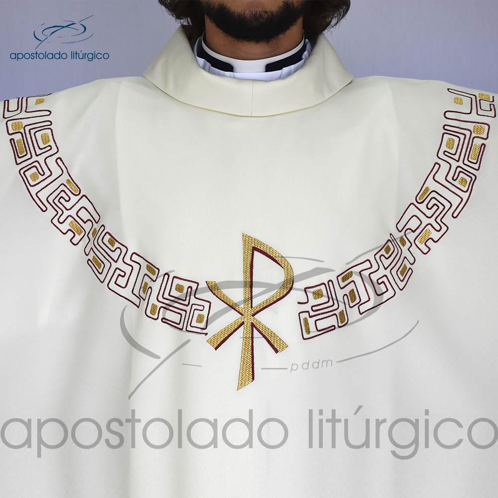 Casula oxford bordado PX Bege Frente Bordado | Apostolado Litúrgico Brasil