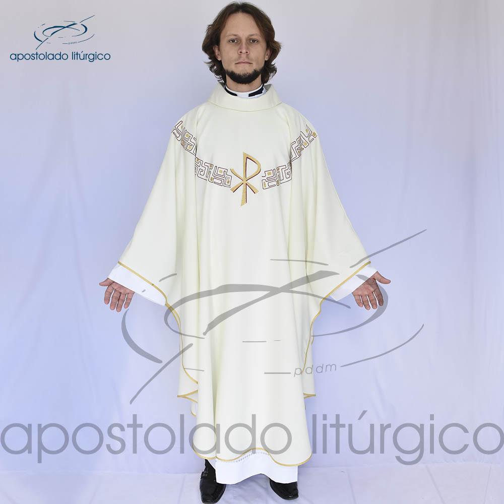 Casula oxford bordado PX Bege Frente | Apostolado Litúrgico Brasil