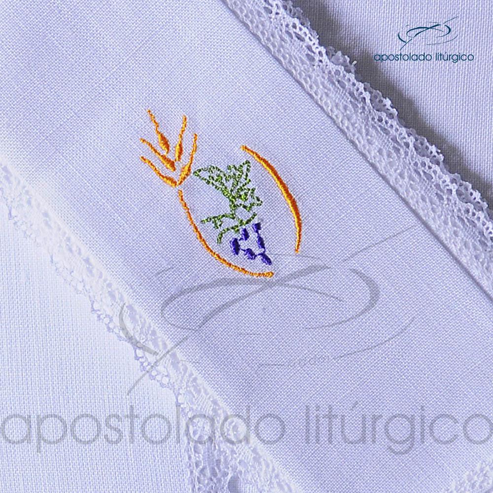 Conjunto de Altar de Linho Bordado Trigo Uva Dezenho COD 01771 0004 | Apostolado Litúrgico Brasil