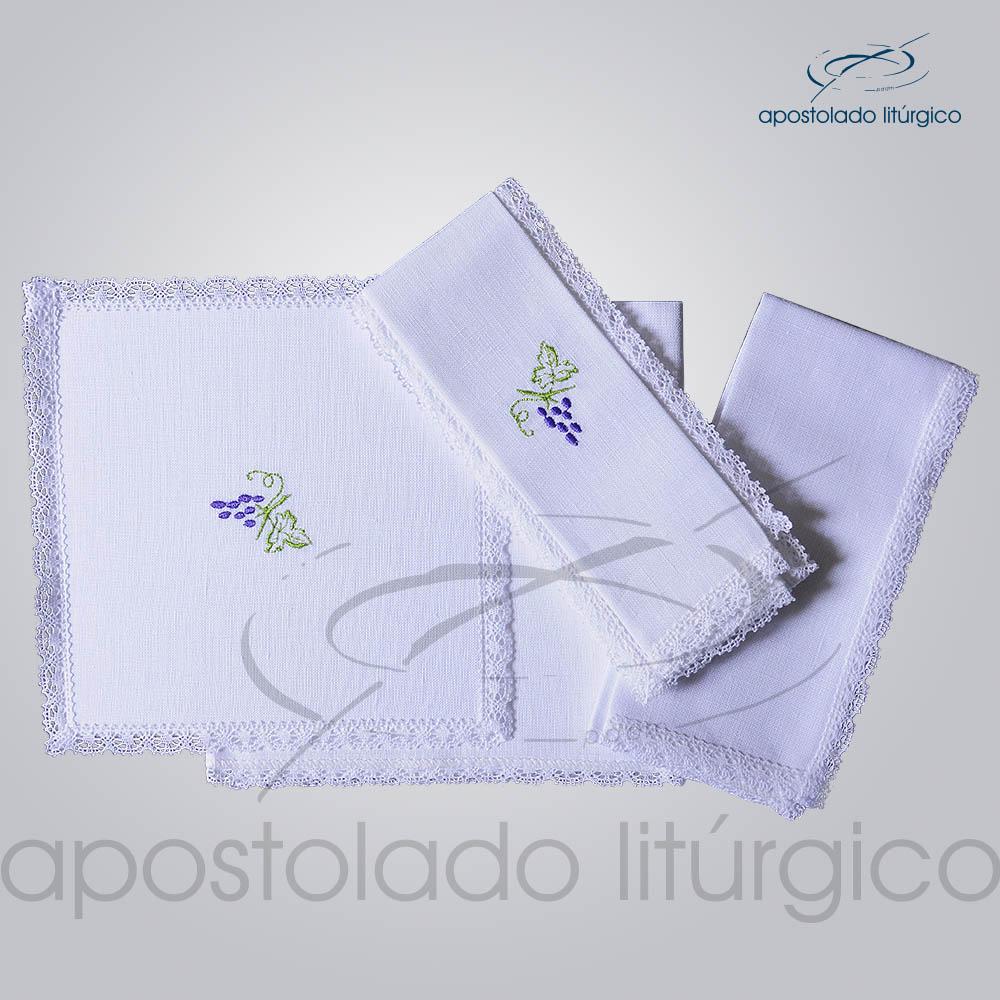 Conjunto de Altar de Linho Bordado Uva COD 01771 0002 | Apostolado Litúrgico Brasil
