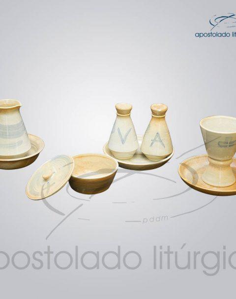 Conjuto de Celebracao com Anel em Ceramica Mel com Azul Completo