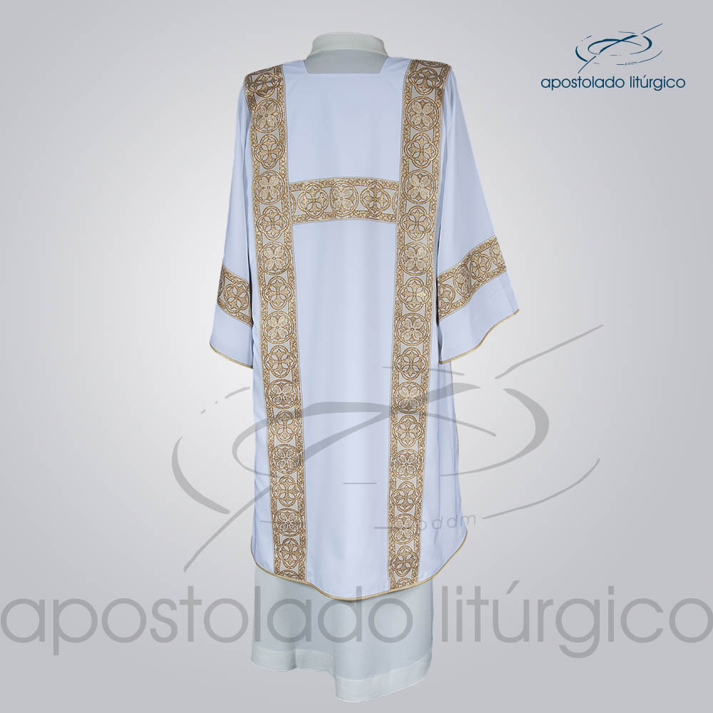 Dalmatica Crepe Seda Galao Largo N 10 Branca Costas | Apostolado Litúrgico Brasil