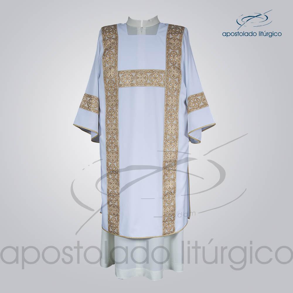 Dalmatica Crepe Seda Galao Largo N 10 Branca Frente | Apostolado Litúrgico Brasil