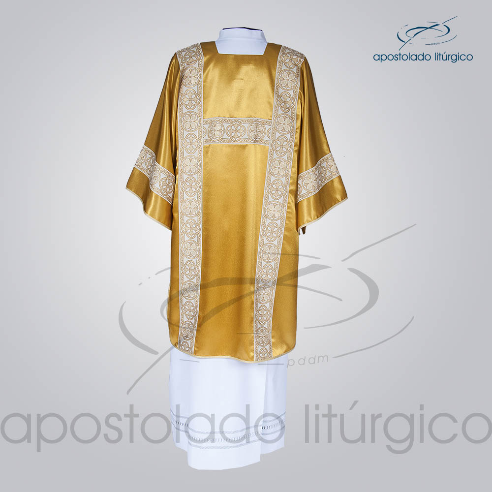Dalmatica Crepe Seda Galao Largo N 10 Dourada Completa Costas   Apostolado Litúrgico Brasil