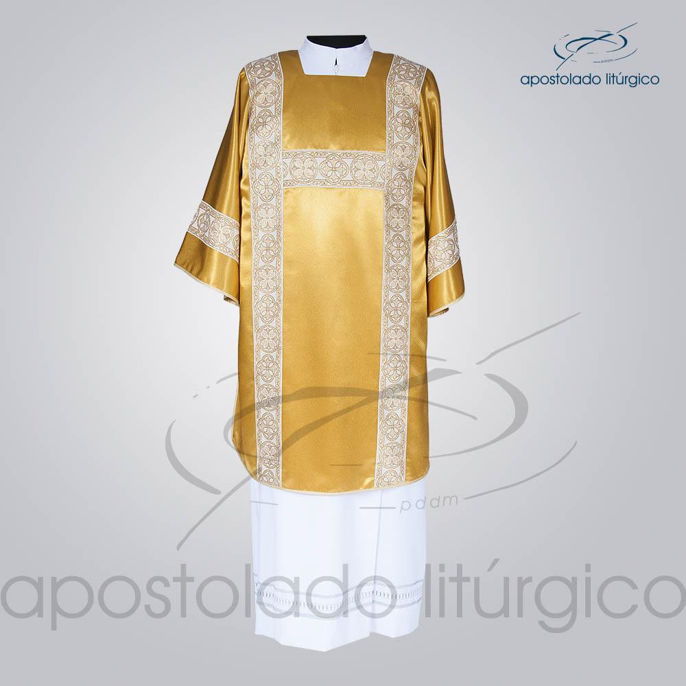 Dalmatica Crepe Seda Galao Largo N 10 Dourada Completa Frente   Apostolado Litúrgico Brasil