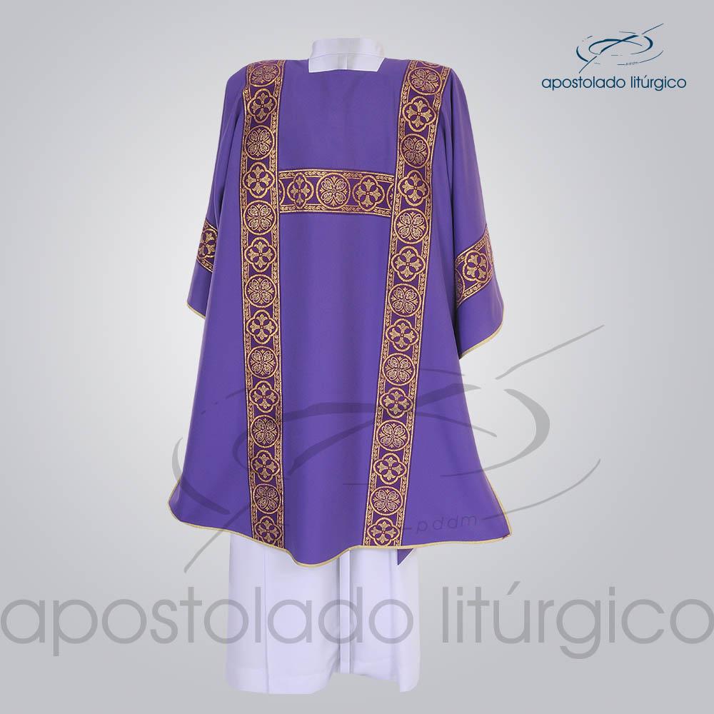 Dalmatica Crepe Seda Galao Largo N 10 Roxa Costas | Apostolado Litúrgico Brasil